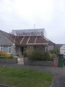 scaffolding for roof of bungalow